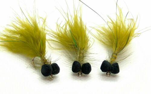 Olive Flash DAMSEL BOOBY Flies 3 Pack Foam BOOBIES Trout Fly Fishing Size 10,12