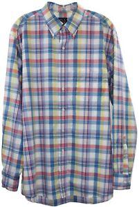 Jos-A-Bank-Mens-Multi-Color-Plaid-Button-Down-Long-Sleeve-Shirt-Size-L