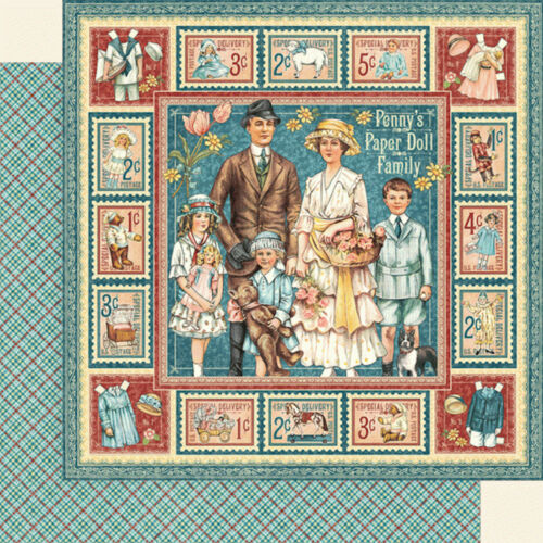 2pc Graphic45 PENNY/'S PAPER DOLL FAMILY 12x12 Dbl-Sided Scrapbooking Paper