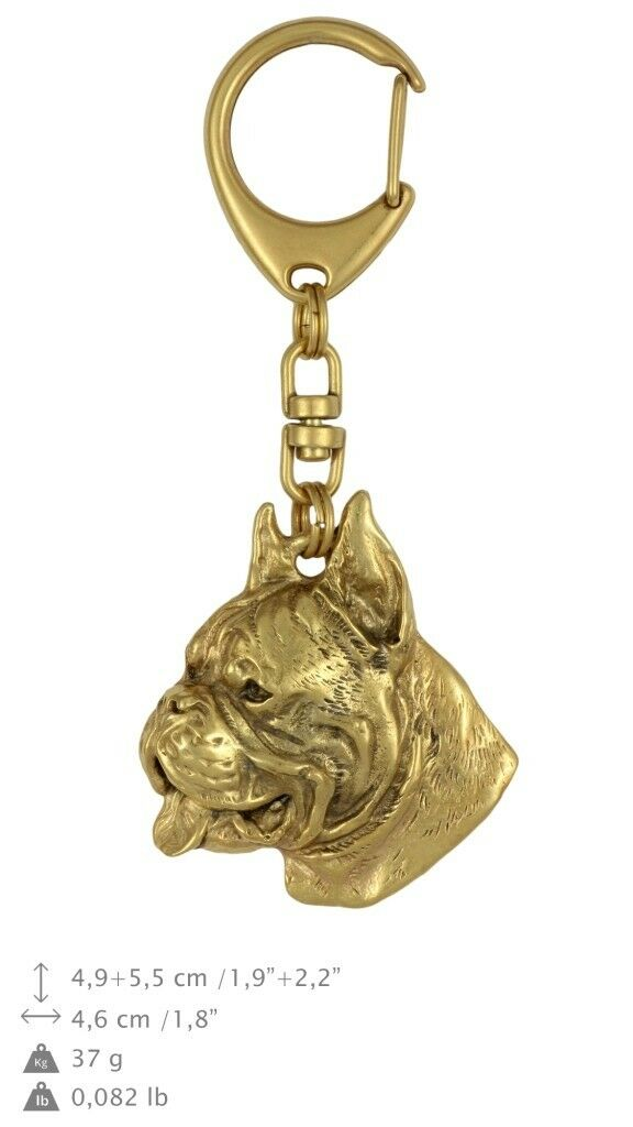 solo per te Boxer type 2 - oro oro oro covered keyring with dog, high quality, keychain Art Dog  sconto