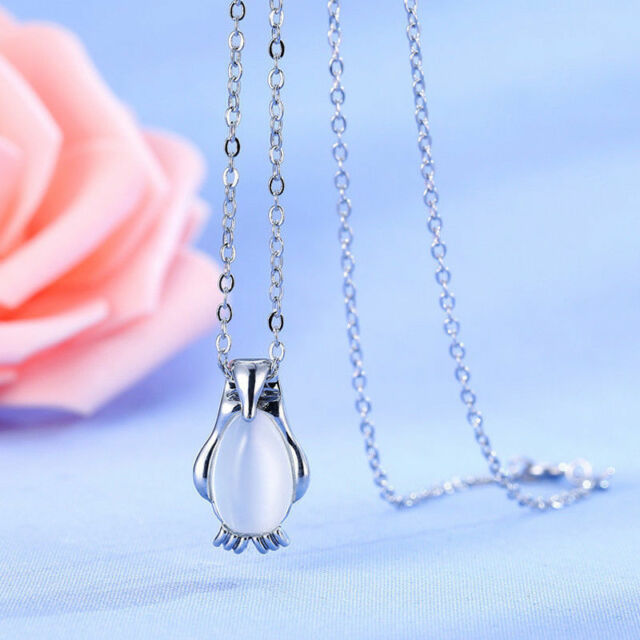 Cute Silver Penguin Opal Ladies Pendant Necklace 925 Sterling Plated Bird Gift