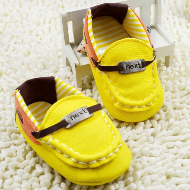Baby Boys Girl  Yellow infant Toddler soft Crib Shoes size newborn to 18 months