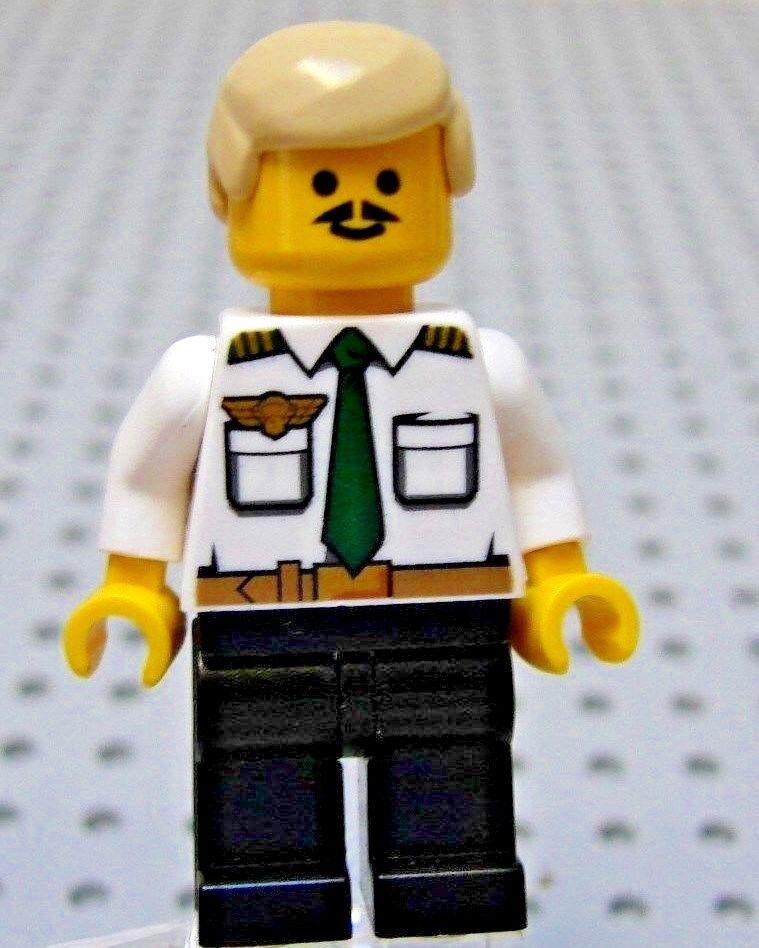 Lego Ciudad Línea de Aire Avión Piloto Camiseta whitea Rubio Pelo black Piernas
