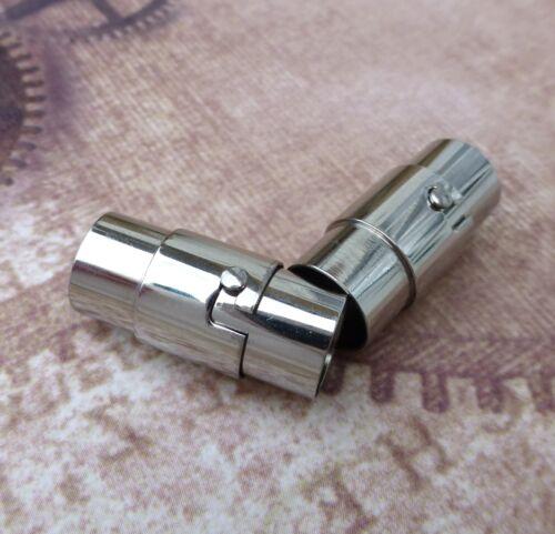 2 X Tubular De Bloqueo Cierre Magnético Cuerda O KUMIHIMO Broche 4.9mm