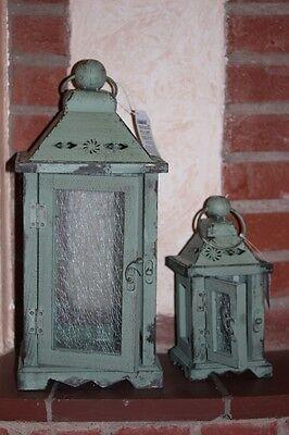 Wunderschöne Holzlaterne mit Metalldach, grün, wählbar klein oder groß