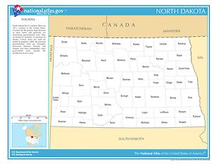 North Dakota State Counties Laminated Wall Map