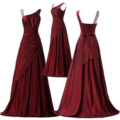 Long Ball Gown Wedding Bridesmaid Prom taffeta Dress SIZE 6 8 10 12 14 16 18 20