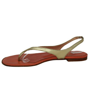 CHRISTIAN-LOUBOUTIN-Metallic-Gold-Leather-Slingback-Thong-Sandals-US-8-5
