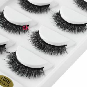 4ffc0646a69 5 Pairs Mink Hair False Eyelashes Long Thick Natural Fluffy Lashes ...