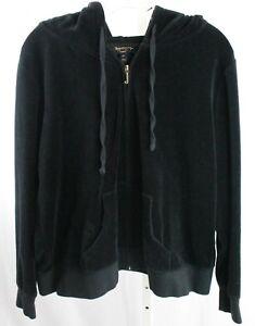 Juicy-Couture-Black-Label-Black-Velour-Zip-Front-Tracksuit-Set-Women-039-s-2X