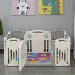 Parque Infantil Bebé 12 Paneles con Puerta para Niños de +6 Meses 108x133x58cm