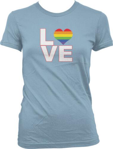 Love Gay Pride Rainbow LGBT Lesbian Equality Neon Fabulous Happy Juniors T-shirt