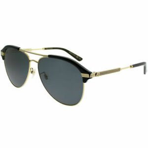 8587855f6c4 Image is loading Gucci-GG0288SA-001-Black-Gold-Plastic-Aviator-Sunglasses-