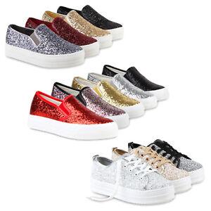 810730 Details Glitzer Turnschuhe Schuhe Low Sneakers Plateau Metallic Zu Damen TFJcK1l