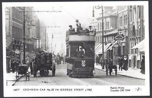 Croydon-London-croydon-Tramcar-22-in-George-Street-c1902-Pamlin-Prints-RPPC
