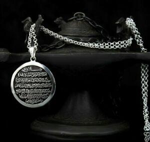 I-slamic-ayatel-Kursi-Turco-Hecho-a-Mano-925-5-Plata-Mens-sin-Collar-Colgante-de-piedra