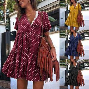 ZANZEA-Femme-Lace-Manche-Courte-Polka-Dot-Couture-Plisse-Robe-Dresse-Mini-Plus