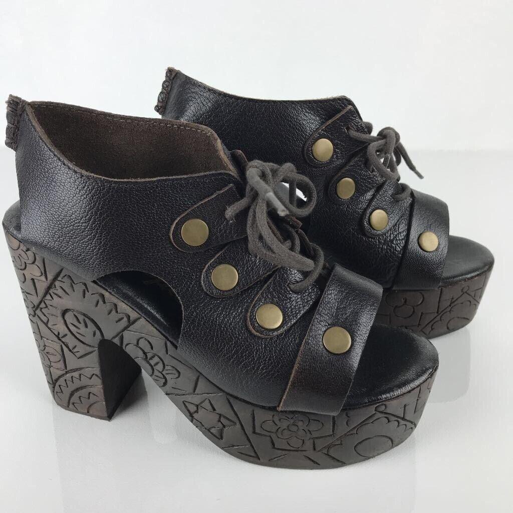Free People donna Farrah Platform Clogs Marronee Leather Boho Lace Up Heels (35 5)