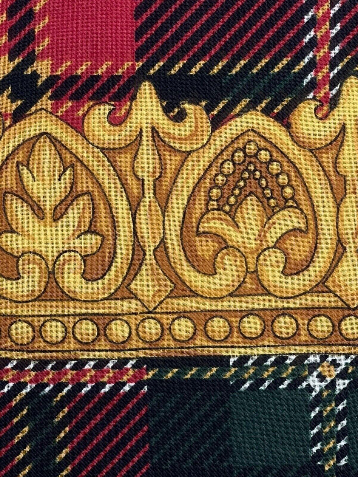 Vintage Tartan Baroque Gold Frame Print Scarf Red… - image 3