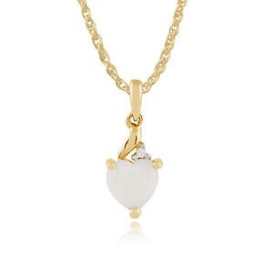 Gemondo-9-ct-Oro-Amarillo-0-30-ct-opalo-y-diamante-Corazon-colgante-con-cadena