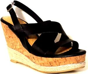 1b313458ef6 Image is loading NATURE-BREEZE-Black-Crisscross-Strappy-Wedge-Heel-Sandals-