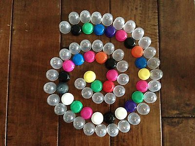 """500 EMPTY ONE INCH 1/"""" VENDING CAPSULES ACORN 1 INCH,ASSORTED COLOR LIDS CARNIVAL"""