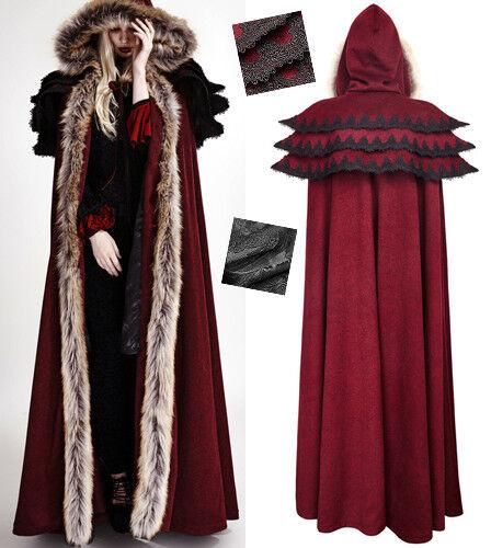 Full lenght hooded cape cloak coat gothic lolita baroque ruffles fur PunkRave Rd