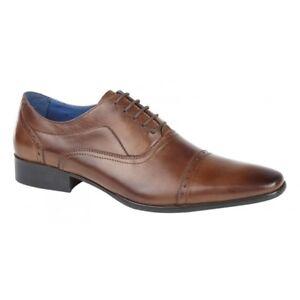 Roamers-Jonty-Mens-Leather-Oxford-semi-Brogues-Smart-Office-Shoes-Lustre-Tan