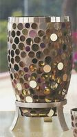 Partylite Miranova Hurricane Mosaic Tall Candleholder Colored Circular Glass