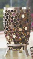 Partylite Miranova Hurricane Mosaic Tall Candleholder Colored Circular Glass