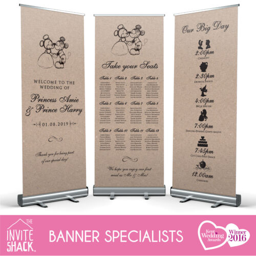 1 x Disney Mickey /& Minnie Wedding Pull Roll Up Roller Banner//Sign//Table Plan!