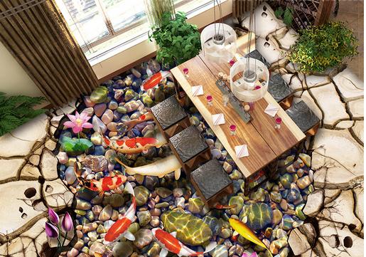 3D Soil Stones Fish 7 Floor WallPaper Murals Wall Print 5D AJ WALLPAPER UK Lemon