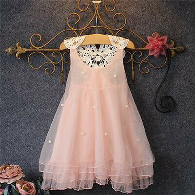 Flower Girl Kids Lace Princess Tutu Tulle Dress Wedding Pageant Party Sundress