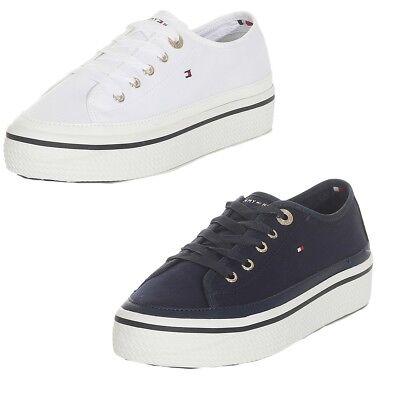 reputable site 2733a 5583a Tommy Hilfiger Damen Sneaker Corporate Flatform Schuhe Weiss Navy   eBay