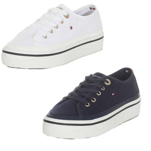 Tommy Hilfiger Damen Sneaker Corporate Flatform Schuhe Weiss Navy