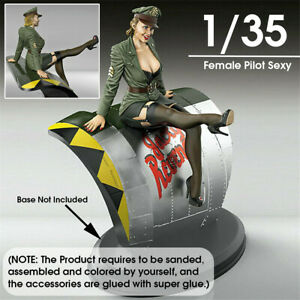 1-35-Scale-Pin-Up-Pilot-Figure-Model-Unpainted-Female-Soldier-Garage-Kits