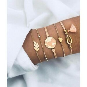 Damen-Armbaender-5er-Set-Armband-Gold-Schmuck-Boho-Weltkarte-Herz-Quaste-Muschel