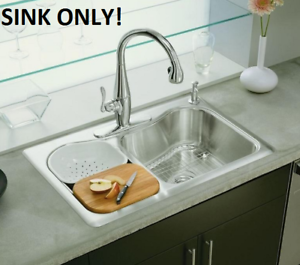 Details about KOHLER Staccato Drop In Stainless Steel Double Bowl Kitchen  Self Rimming Sink