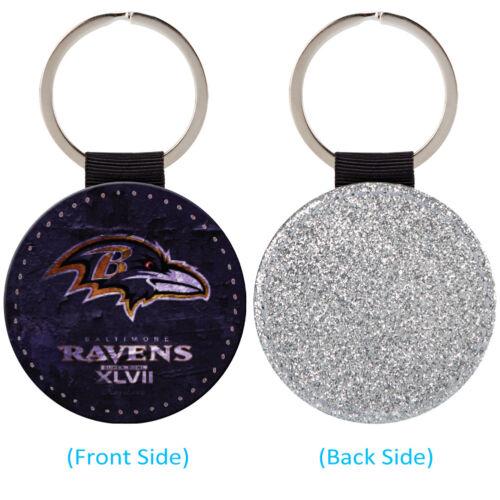 Baltimore Ravens Deportivo Cuero Brillo Llavero Llavero Coche Anillo Silve