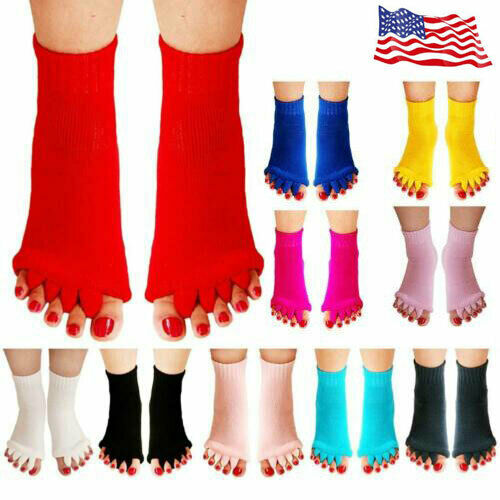 1 Pair Women Five Yoga GYM Foot Alignment Sock Ladies Massag