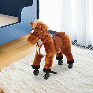 Kids Neigh Sound Walking Pony W/ Wheels & Footrest
