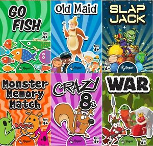 Great Game Card for Kids and Adults Bundle Pack Party Favor Classic Kids Game Cards 4 Pack Play 4 Classic Card Games for Kids Plus Sticker ASSO-200139-4s Old Maid - Go Fish - Crazy 8s - War