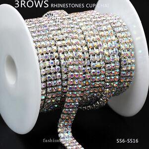 3-row ss6 ss8 ss12 ss16 Crystal AB Rhinestone Close silver cup Chain ... 30e505f082c4