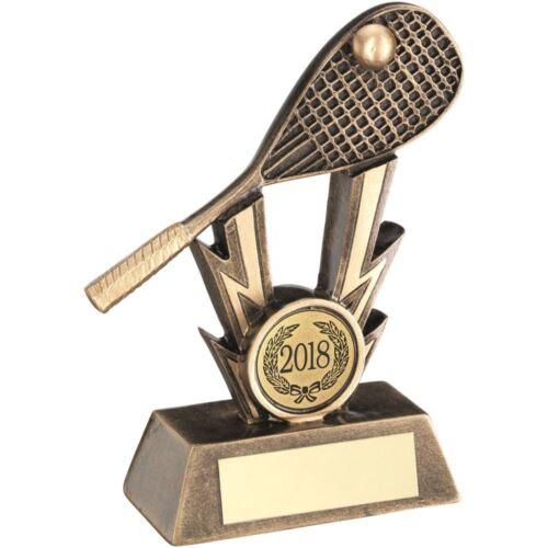 4.75 in environ 12.06 cm BRZ//or Squash Racket sur des frappes trophée - environ 2.54 cm Centre 1 in