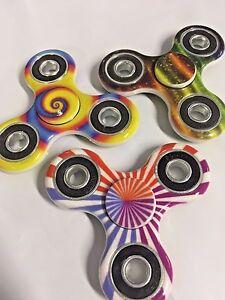 Lot 3 Fidget Hand Spinner SWIRL/STRIPES  Fidgit Spinner USA SELLER! FREE SHIP