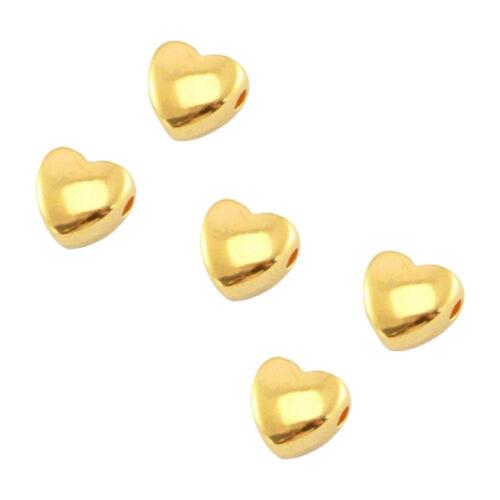 - 6 mm-entre Perles 5 pcs À faire soi-même Bijoux Sadingo DQ métal herzperlen