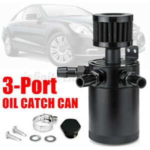 3-Port-Oil-Catch-Can-Compact-Baffled-Reservoir-Tank-Breather-Filter-Universal-Un