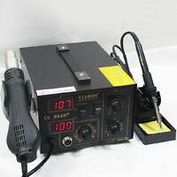 SAIKE 852D+ Iron Soldering Solder Hot Air Gun 2in1 Rework Station 110/220V +Gift