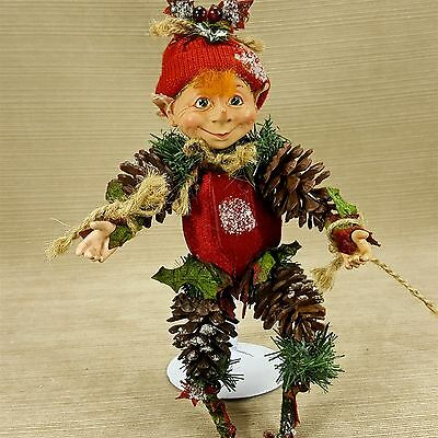 "Pine Cone Greenery Jute Fabric 10"" Elf Pixie Figurine Ornament Resin Head Hands"