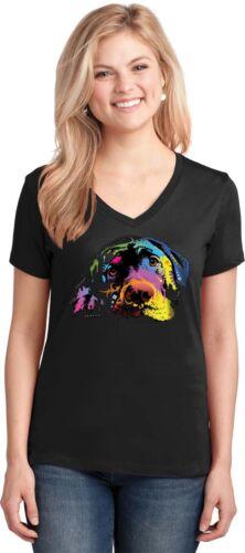 Labrador Retriever Women/'s V Neck T-Shirt Neon Art Dogs Puppy Small to 3XL